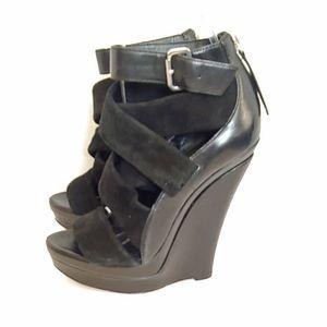 Rachel Zoe black leather nosebleed wedge heels